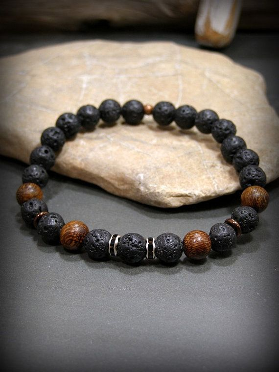 Mens Beaded Bracelet Black Bracelet Lava Rock By