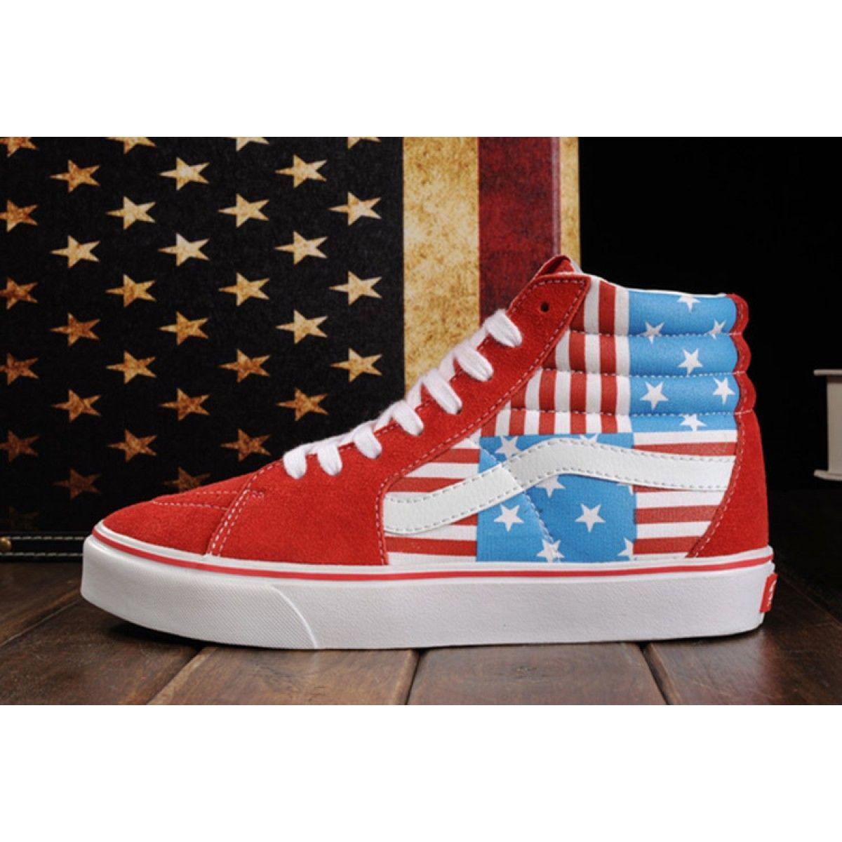 618a1eb8cc0a Limited Edition Red Vans American FLag Beckham SK8 Hi Skateboard Shoes  Vans