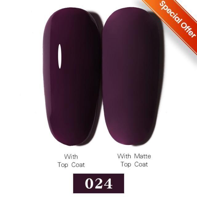 LEMOOC Nail Gel Polish Spring Summer Color Varnishes Glitter Sequins Soak Off Semi Permanant UV LED Nail Art Hybrid Lacquers – Color 024