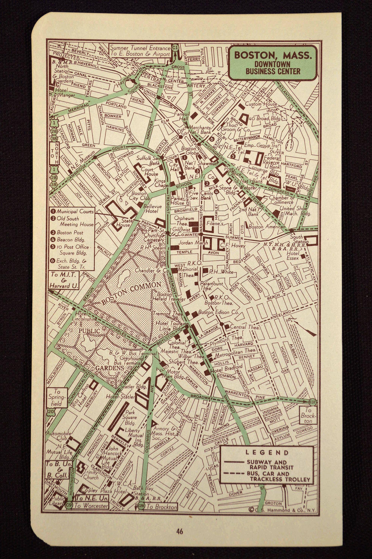 Boston Map Of Boston Street Map Wall Art Decor Vintage Original