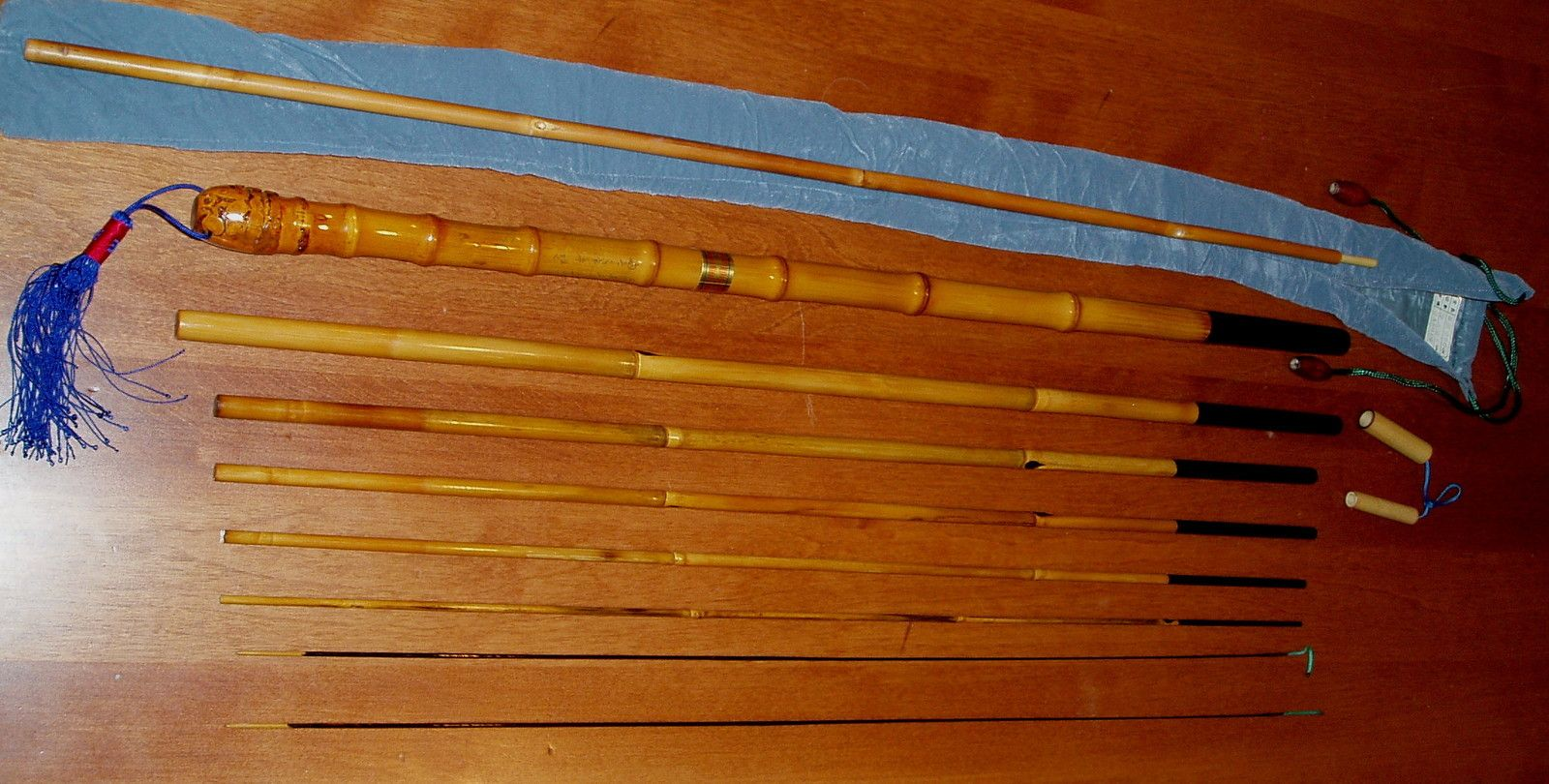 Bamboo tenkara fly rod vintage 7 piece 360 cm w 2 tips for Vintage fishing poles