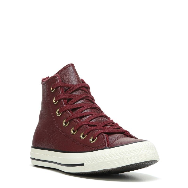 d4d6725e9c70 Converse Women s Chuck Taylor All Star Leather Fur High Top Sneakers ( Burgundy Leather) - 10.0 M