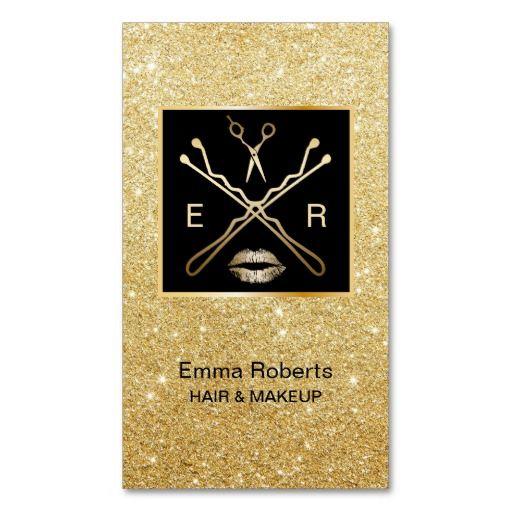 Makeup Artist & Hair Stylist Gold Glitter Modern Standard Business Card