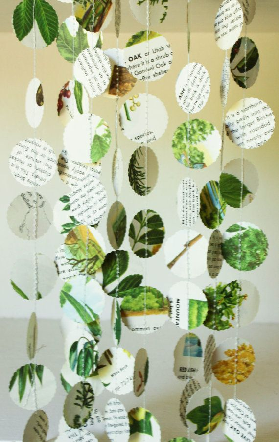 Natural Classroom Decor ~ Nature themed paper garland party decorations in green and