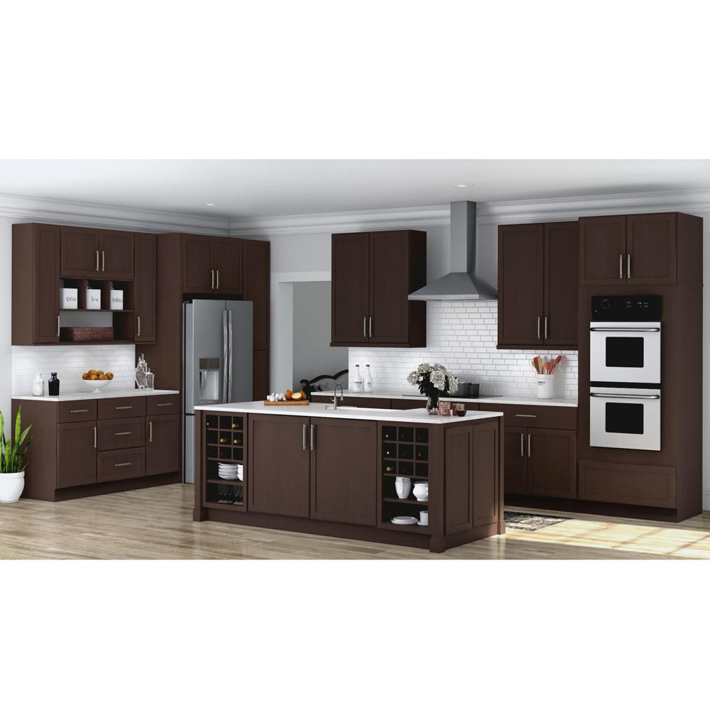 Hampton Bay Shaker Ready To Assemble 36 X 34 5 X 24 In Corner Sink Base Kitchen Cabinet In Java Kcsb36 Sjm The Home Depot In 2020 Kitchen Cabinets Espresso Kitchen Cabinets Hampton Bay