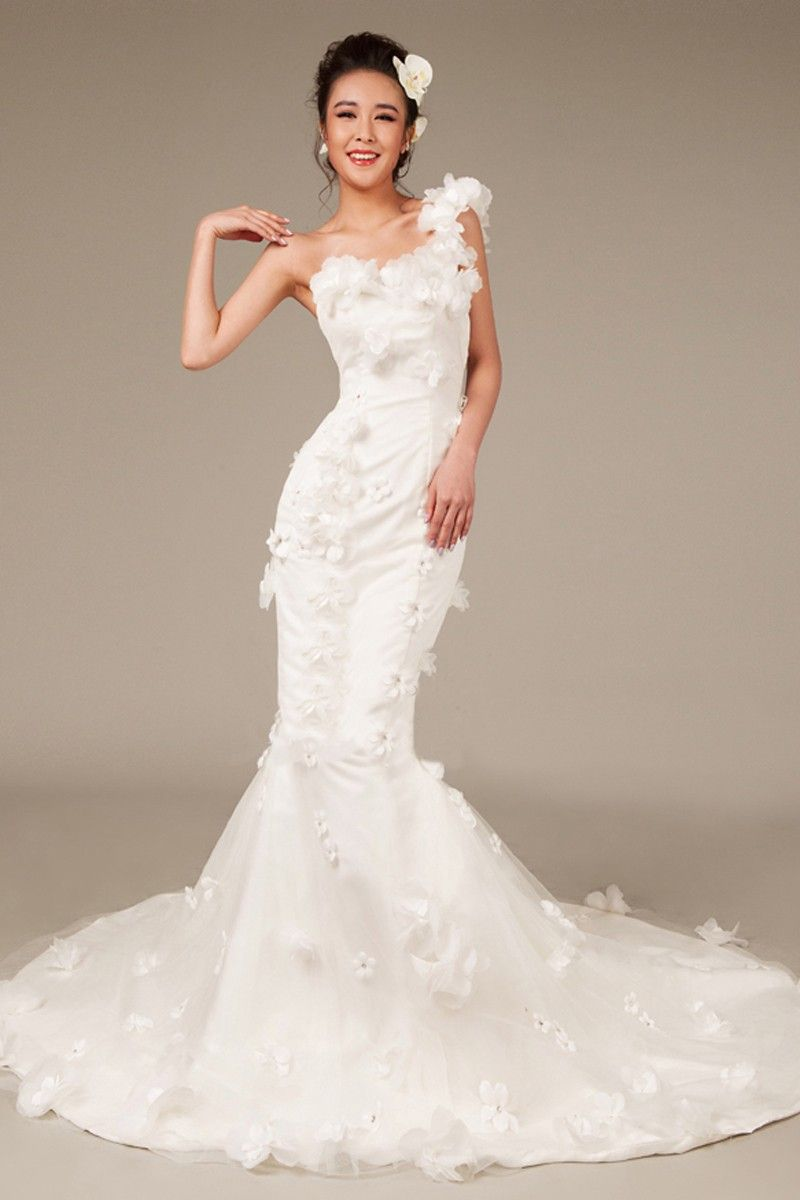 One strap wedding dress  Mermaid One Shoulder Sleeveless Flowers Chapel Train Wedding Dress