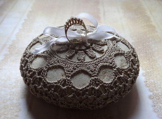 Wedding Stone Crocheted Lace Stone Handmade Original by Monicaj