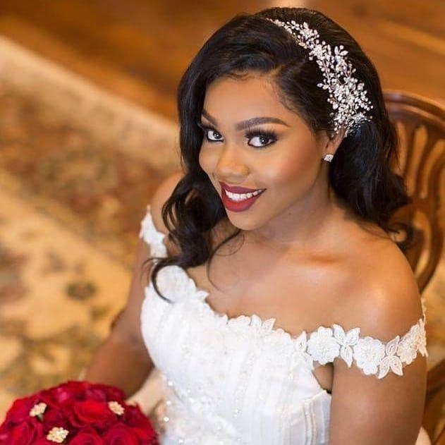 Glam And Gorgeous Sashka Dazzling On Her Wedding Day Custom Designed Crystal Vine Hea Black Brides Hairstyles Black Wedding Hairstyles Bridal Hair Inspiration