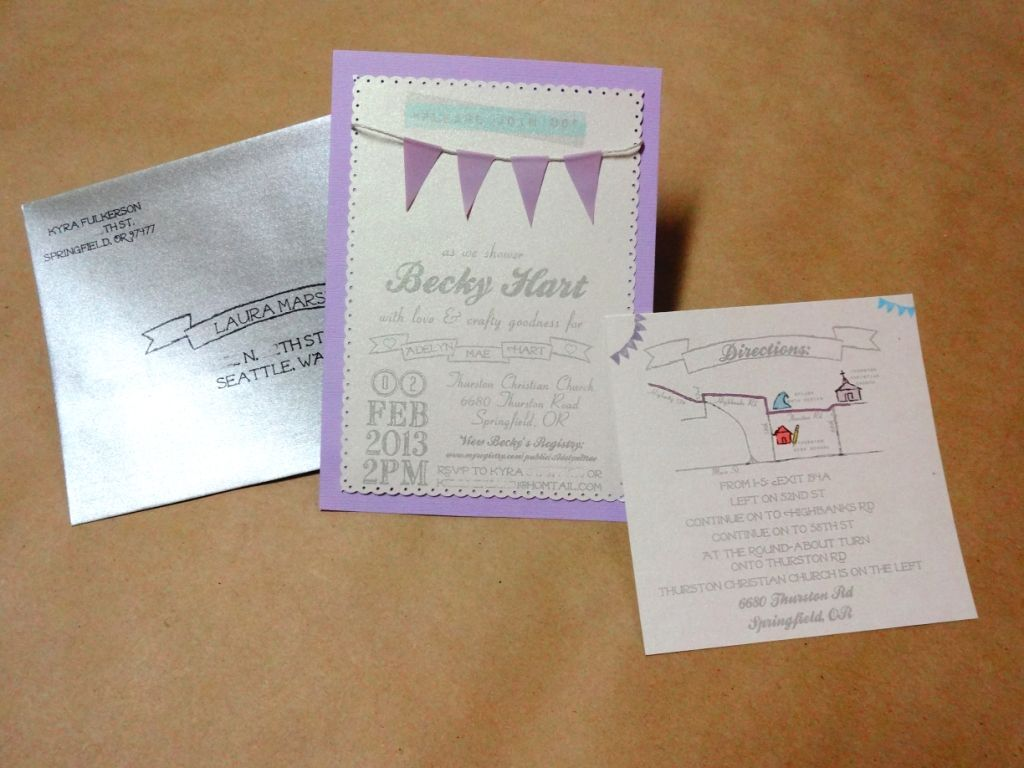 Invitations for designed and hand made for shabby chic baby shower. Colors: lavender, teal, gray. Printed on Sparkle white paper. Silver envelopes, hand drawn map on sparkle paper.