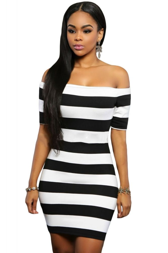 Black White Striped Off Shoulder Club Dress perfect for clubs ...