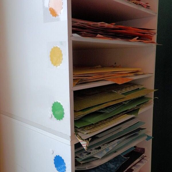 Paper sorting and labeling for craft or scrapbook area.