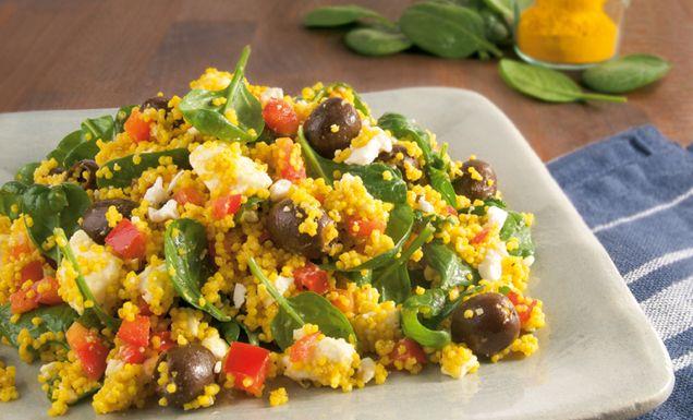 hirsesalat mit spinat oliven und feta tegut rezept essen food couscous food und snacks. Black Bedroom Furniture Sets. Home Design Ideas