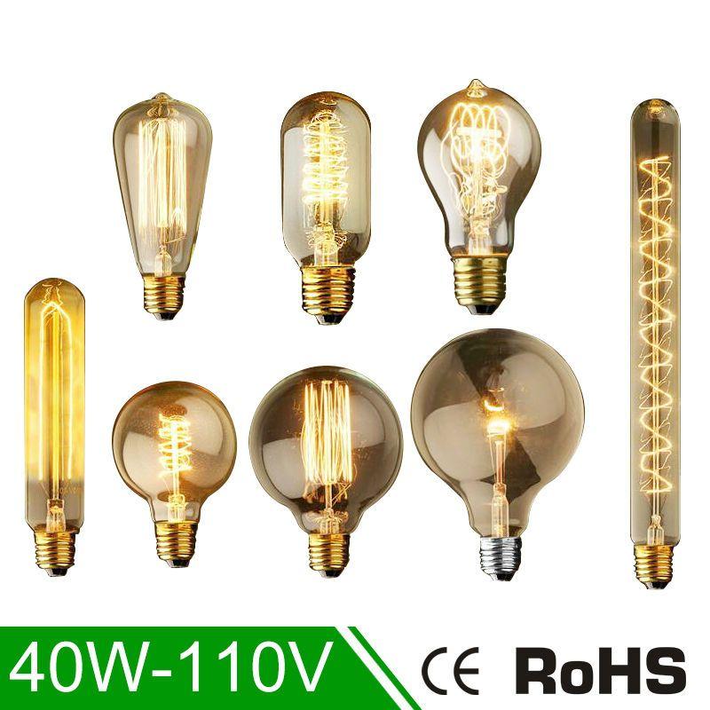 8 x E27 40W Vintage Retro-Glühlampe Filament Birne Glühbirne 4o