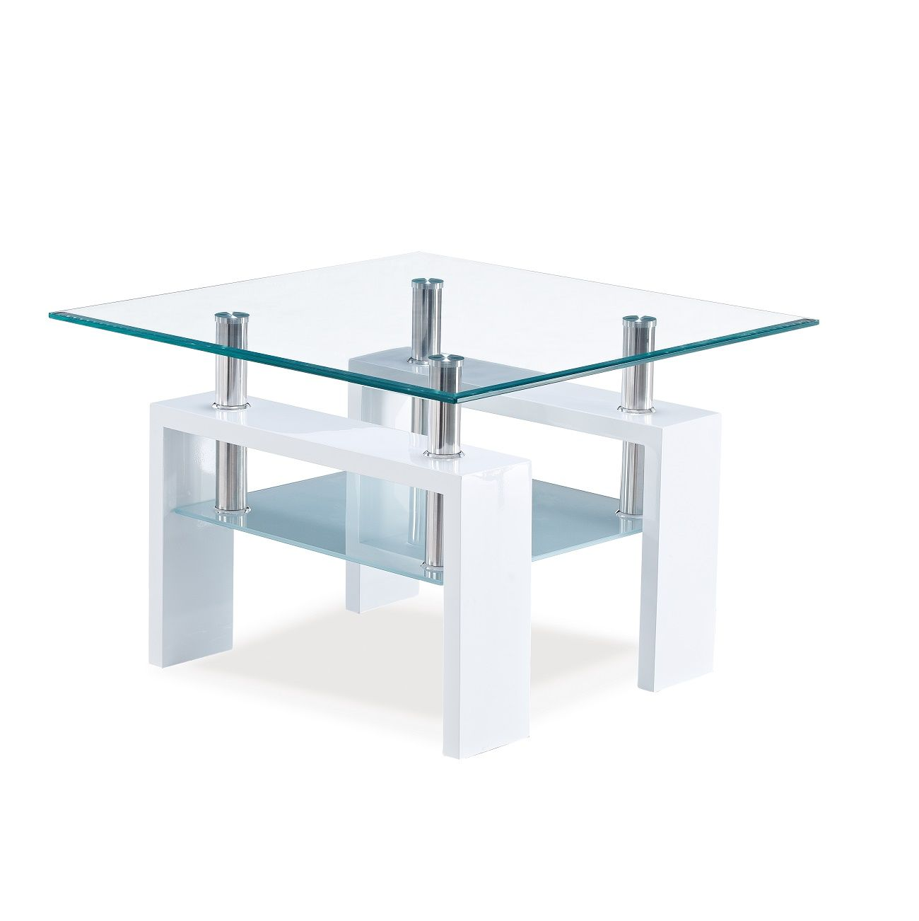 Glossy White Contemporary Clear Temper Glass Sleek Modern: T648 End Table This Contemporary End Table Boast A Sleek