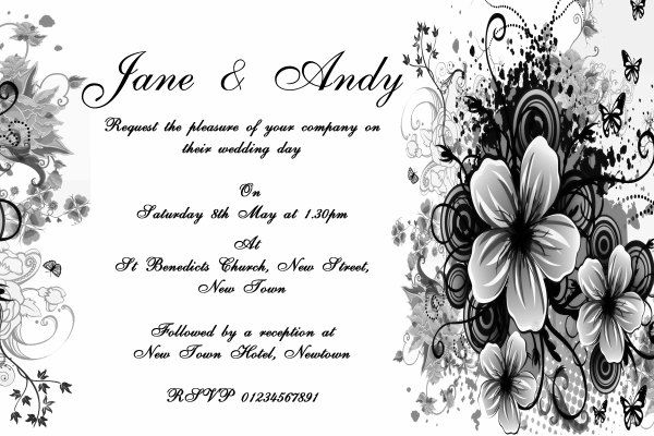 Black White Flowers Butterfly Personalised Wedding by TheCardZoo