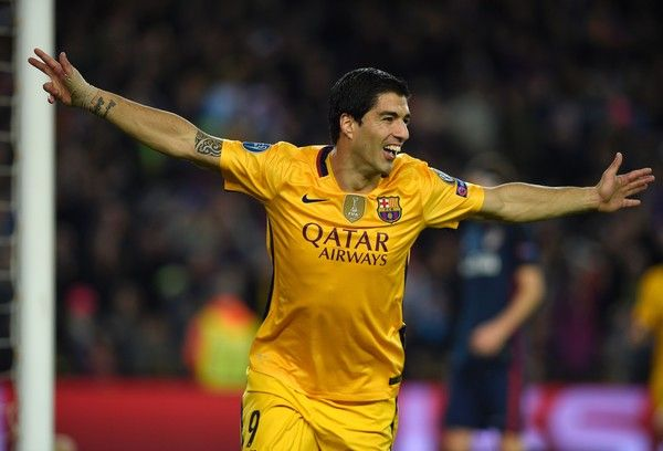 Barcelona's Uruguayan forward Luis Suarez after scoring a goal during the UEFA Champions League quarter finals first leg football match FC Barcelona vs Atletico de Madrid at the Camp Nou stadium in Barcelona on April 5, 2016.