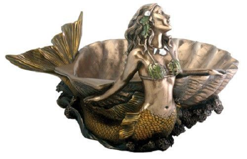 Mermaid & Shell Dish Plate Nautical Statue Sculpture Figure