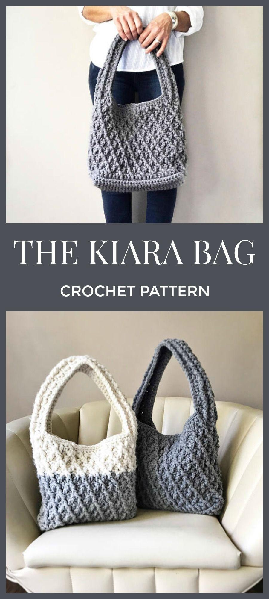 Love that chunky yarn. CROCHET PATTERN, The Kiara Bag, Crochet Bag ...