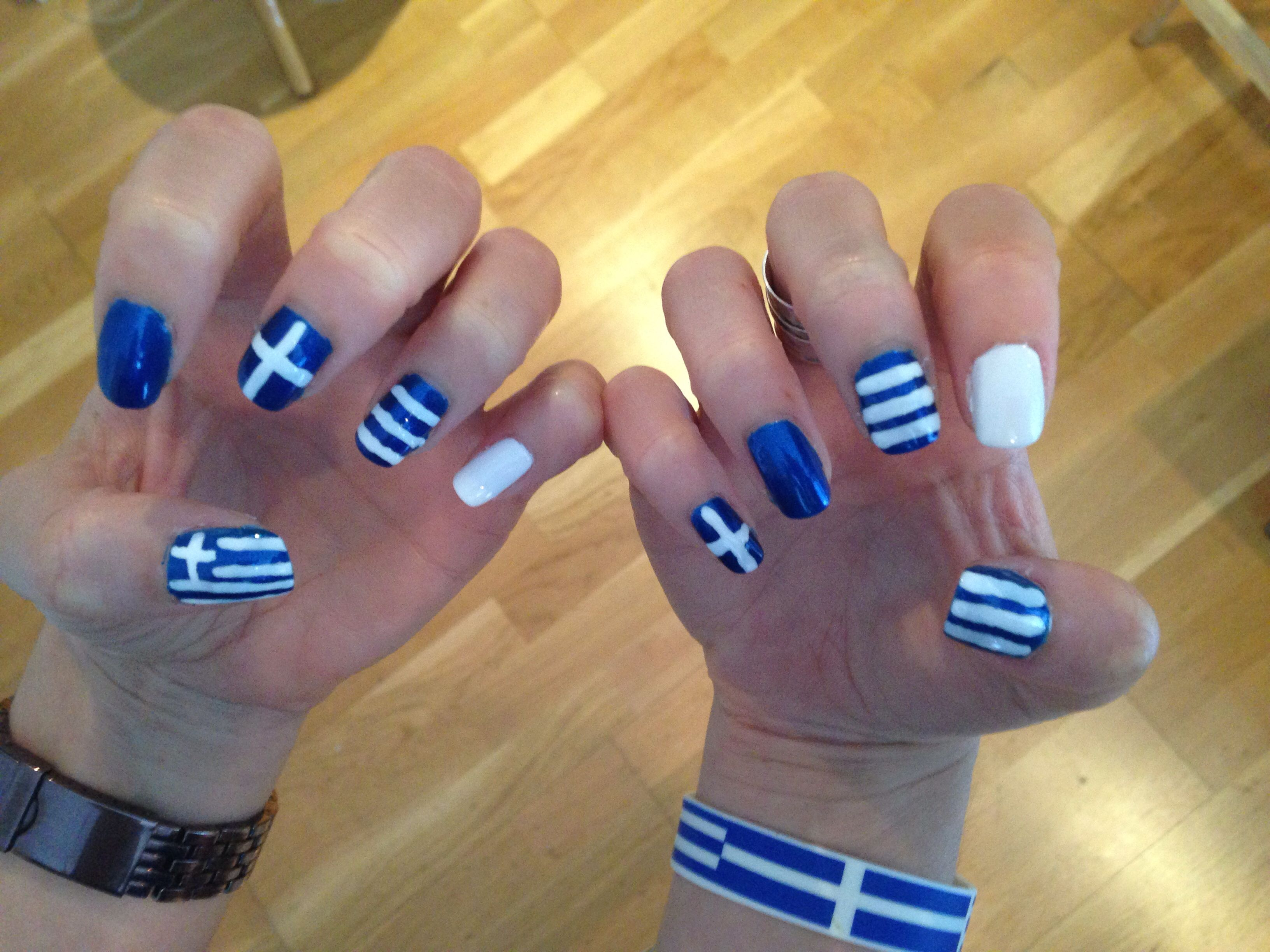 Greek nails! | Nails | Pinterest | Wedding make up, Make up and Nail ...