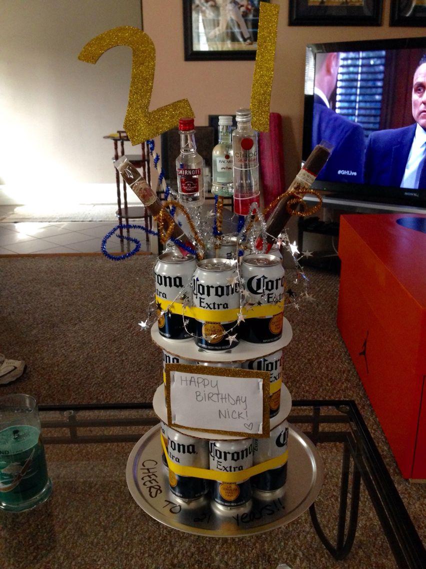 Boyfriends 21st birthday beer cake birthday beer cake
