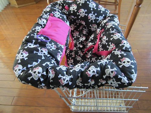 Pink and Black Glitter Smiley Skulls Shopping Cart Cover and Pillow