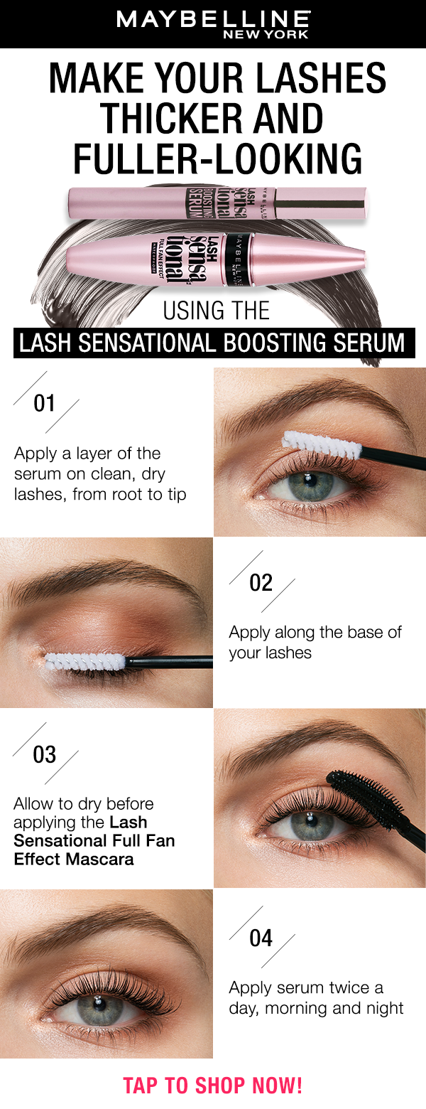 a993aba1614 Give your lashes a boost with Maybelline's first eyelash serum. Apply twice  a day for