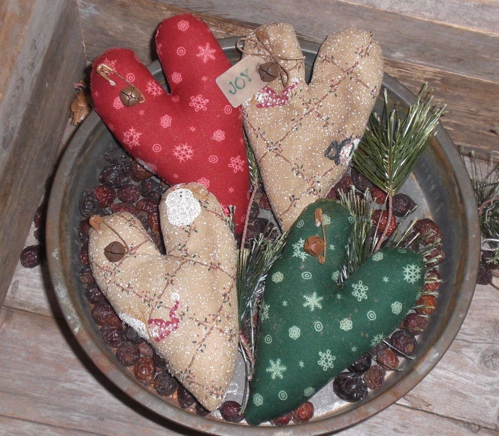 4 Primitive Rustic Christmas Holiday JOY Hearts Bowl Fillers Ornies Ornaments  #NaivePrimitive #ChooseMoosePrimitiveDesigns