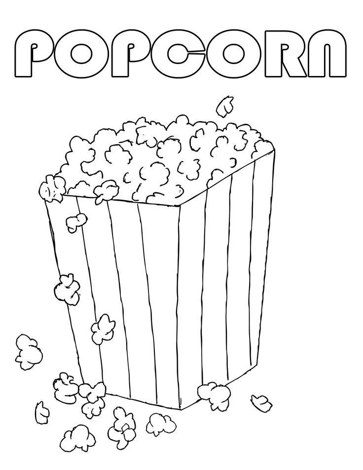 Popcorn Coloring Pages For Kids Colored Popcorn Food Coloring