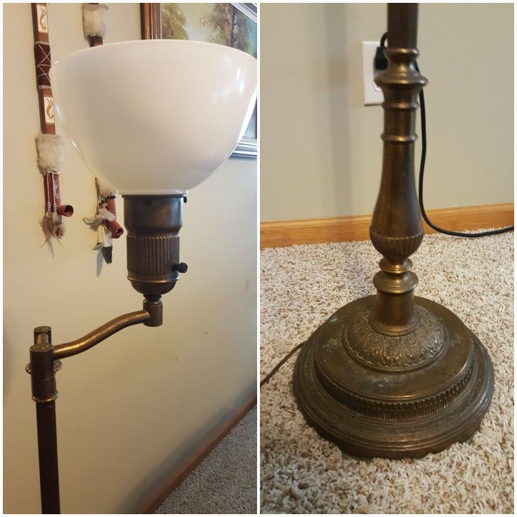 Bought this antique brass swing arm floor lamp that has