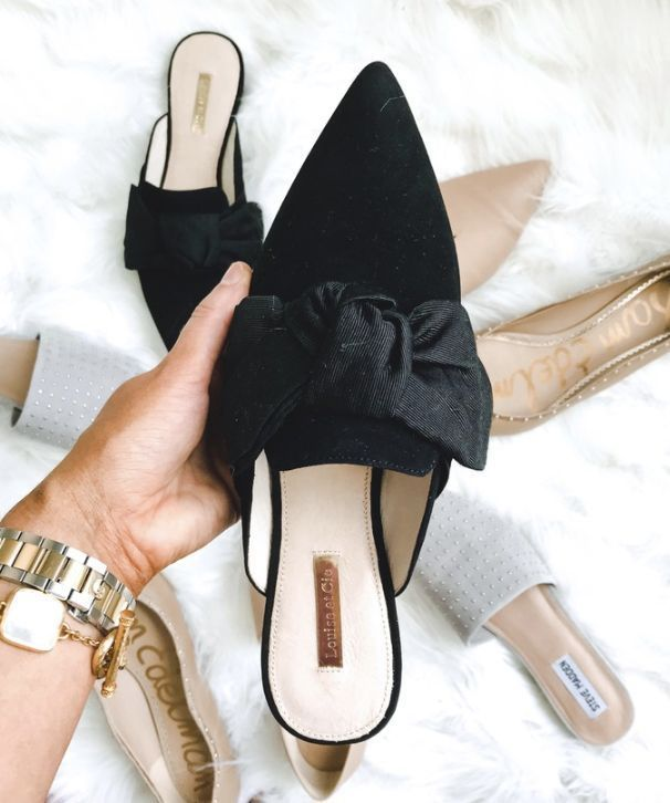 Cute black bow tie mules with kitten heels! These shoes
