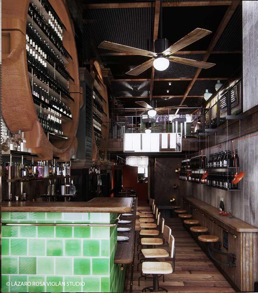 Restaurante rambla barra contra la pared estilo for Barra estilo industrial