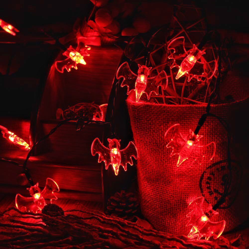 Led Halloween Lights Red Bat String Lights 20 Led 2 5m Battery Operated Halloween