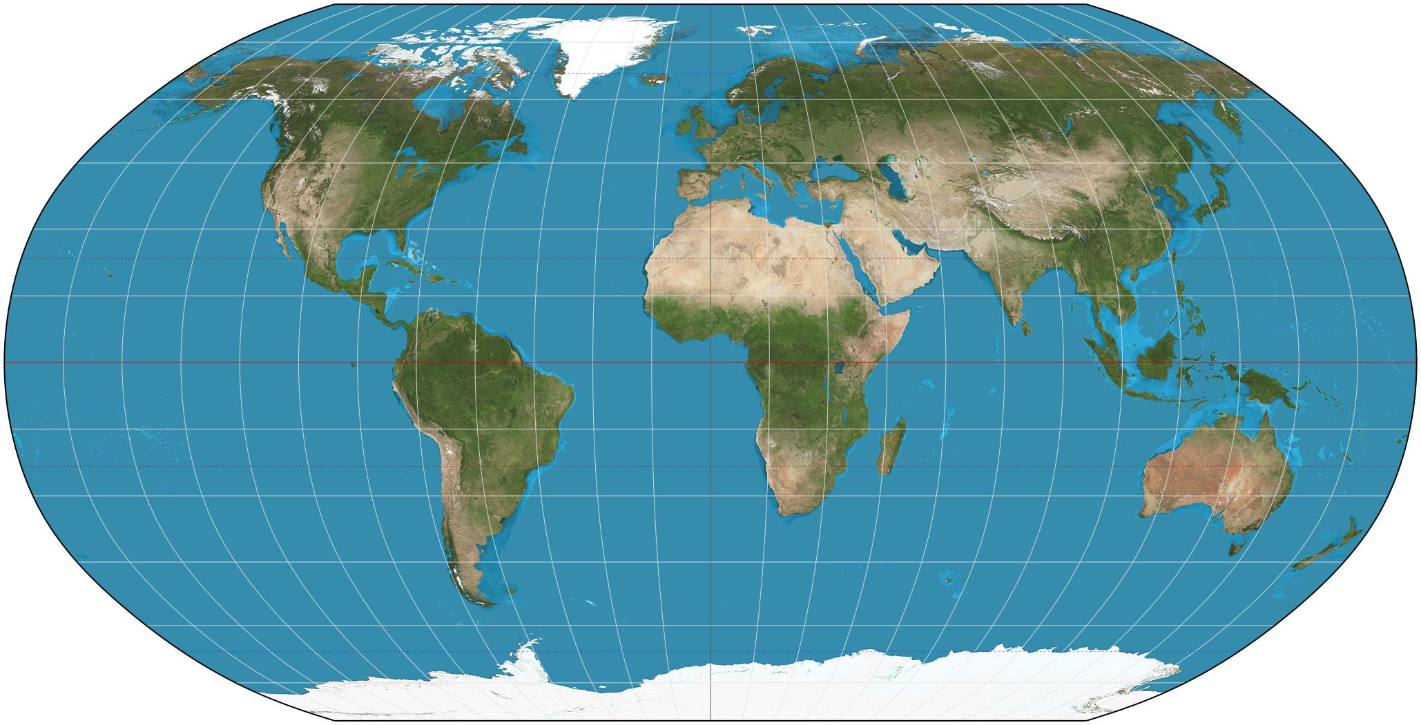 The Robinson projection is a map projection of a world map which ...
