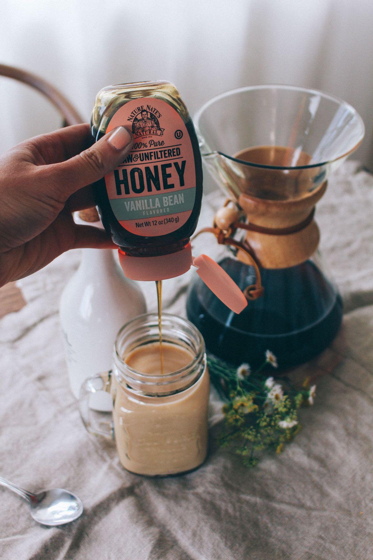 Iced Vanilla Honey Latte Coffee recipes, Honey coffee, Food
