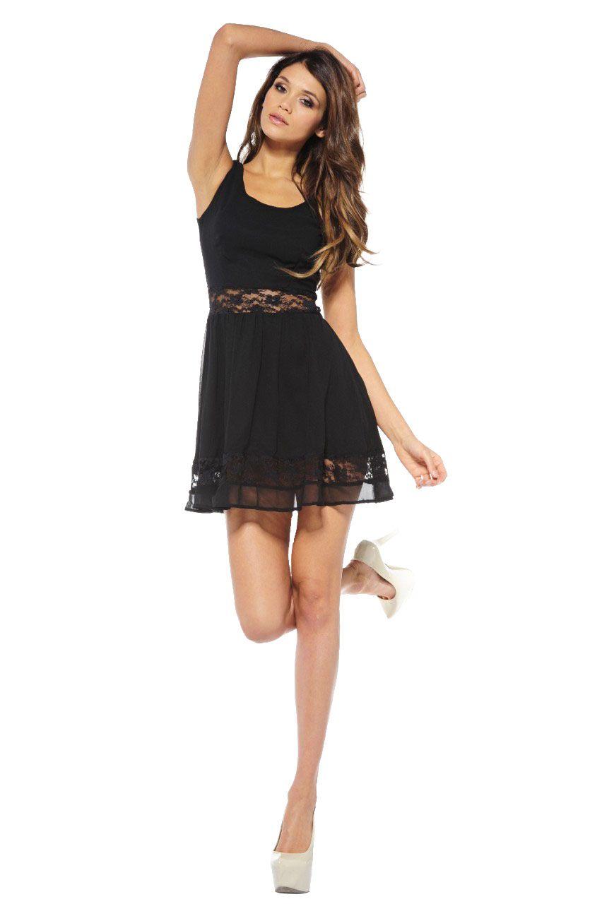 Women's Chiffon Lace Cut Out Skater Black Dress - Online Exclusive $32.24 #SPECTRAVIDEOINC.