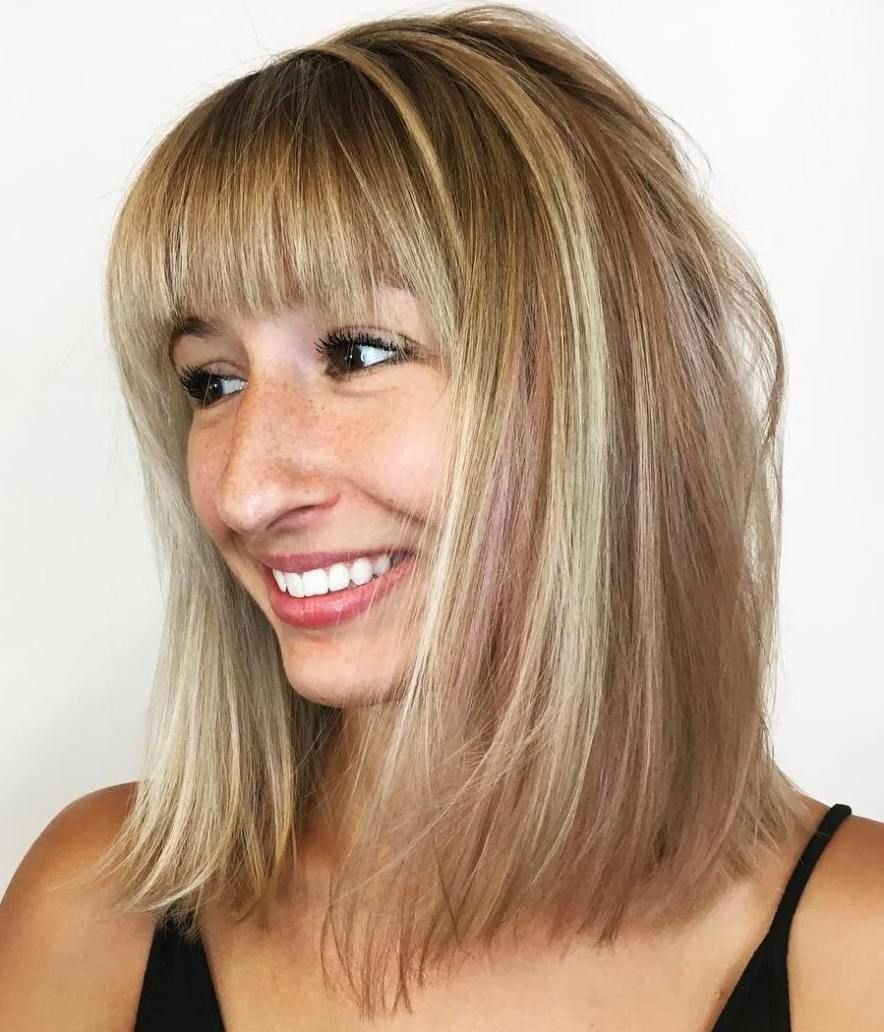 modern ways to style a long bob with bangs fine hair bangs and