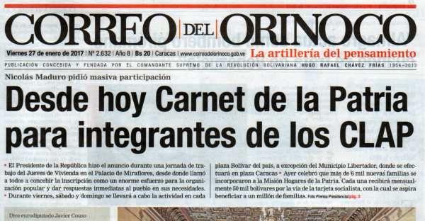 Correo Del Orinoco Del Viernes 27 De Enero De 2017 No 2 632 Novelty Sign
