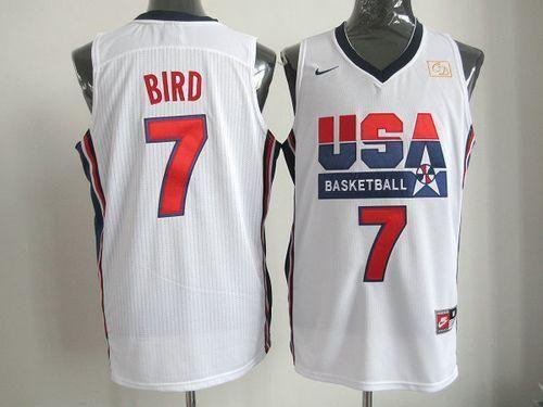 best sneakers e6ea5 61e3e Nike Team USA #7 Larry Bird White 2012 USA Basketball Retro ...