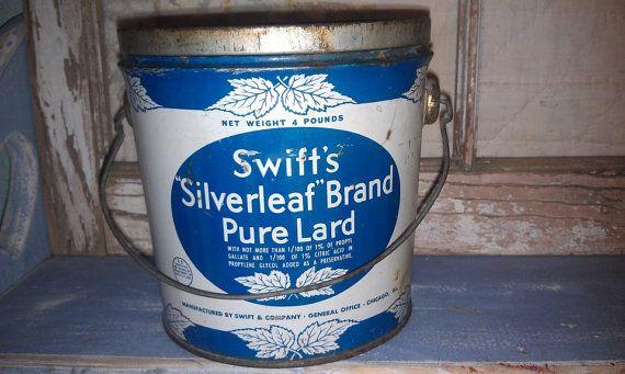 Vintage Blue Tin Pail: Swift's Silverleaf brand, pure lard