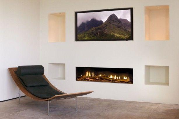 Tv In Muur : Gashaard met nis voor tv en opberg vakken in de muur moderni