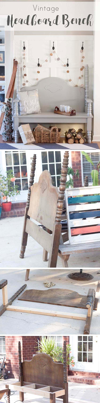 DIY Vintage Headboard Bench | Pinterest | Mueble compacto ...