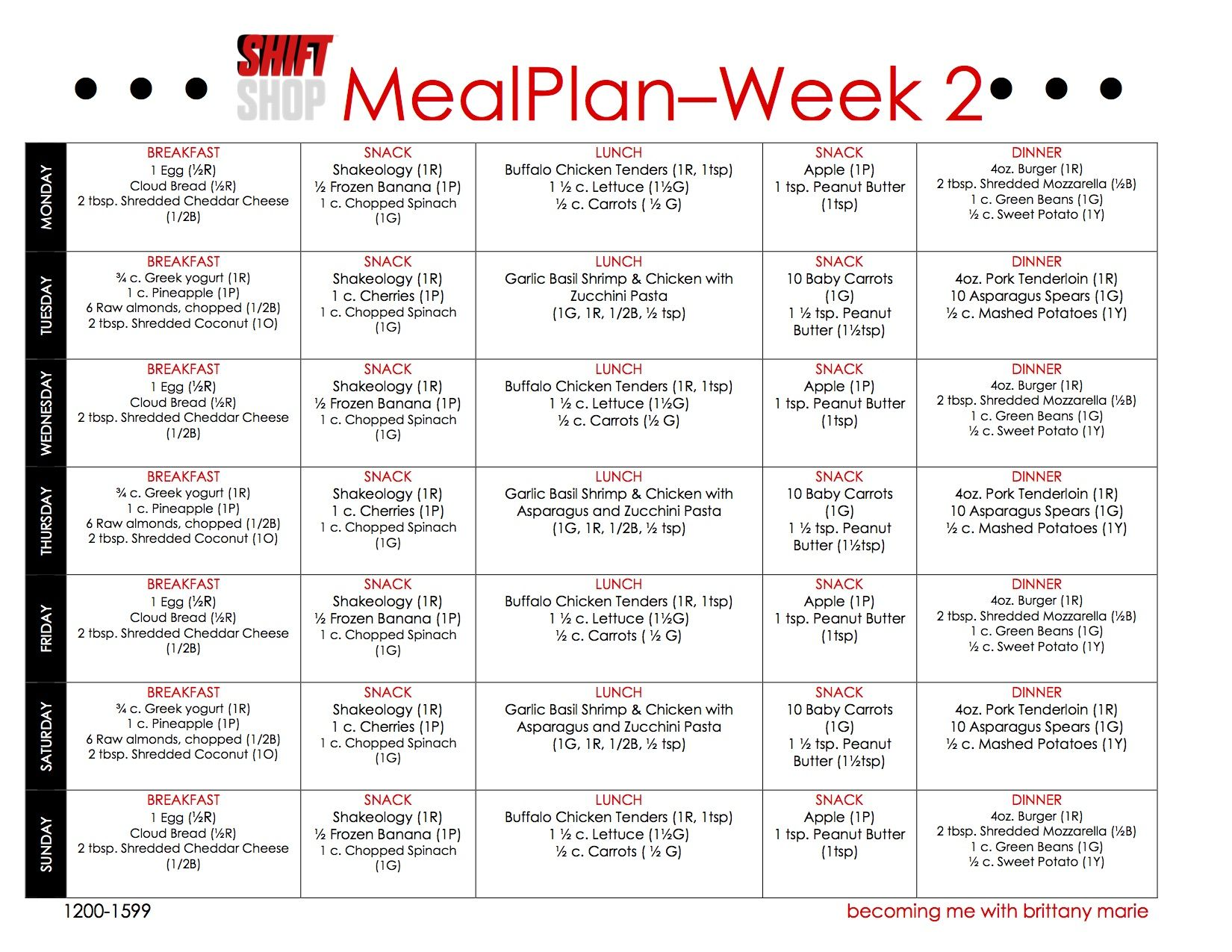Shift shop meal plan week 2 for Home plan weekly