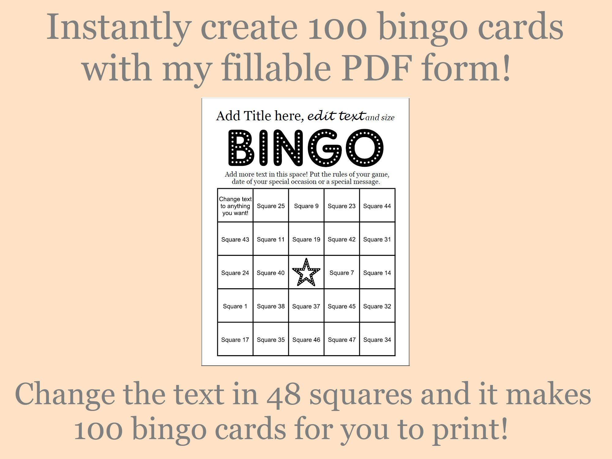 Bingo Card Maker Makes 100 Custom Bingo Cards 48 Call Items