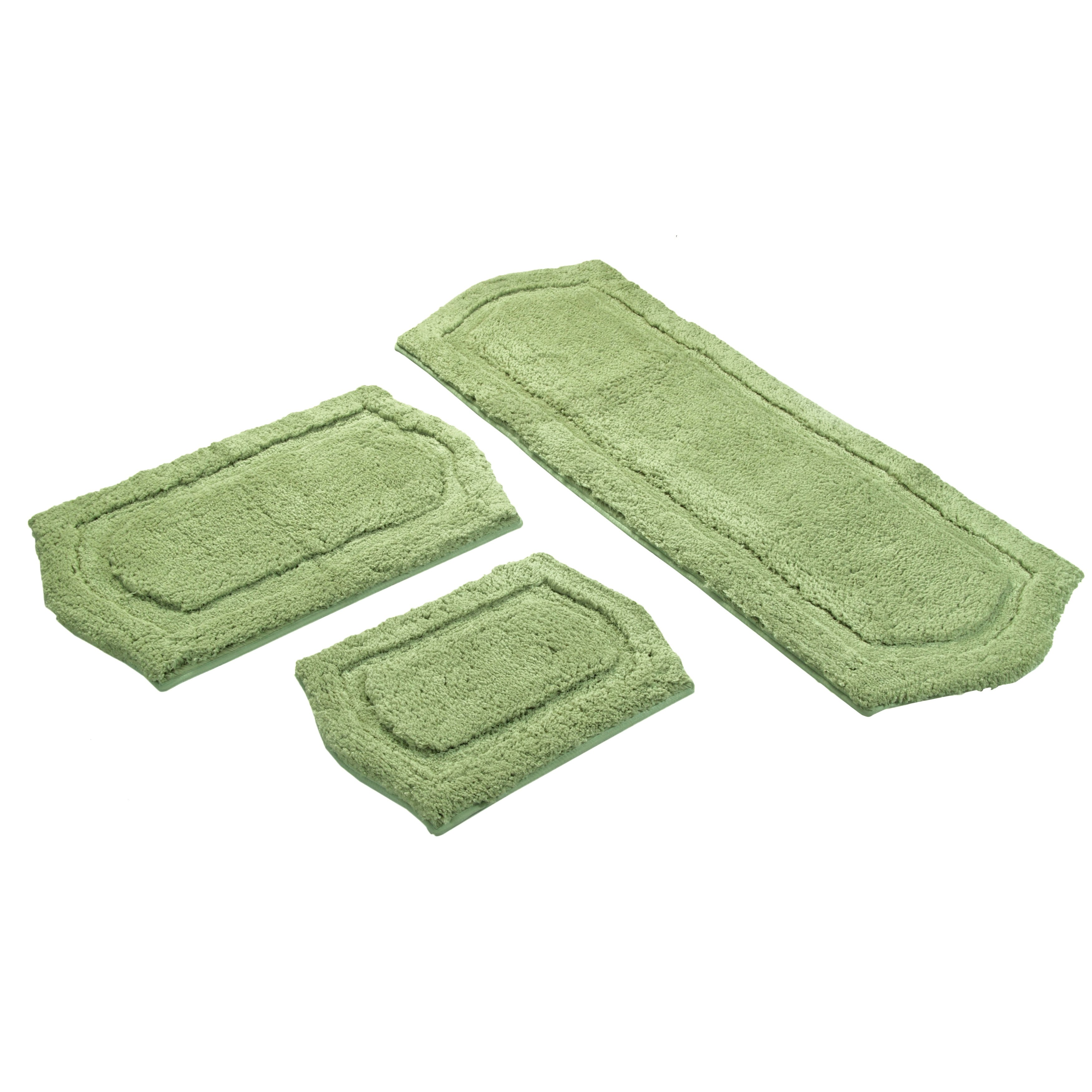 Sage Green Memory Foam 3 Piece Bath Mat Set Includes Bonus Step