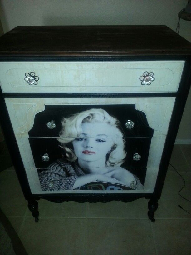 Marilyn Monroe dresser we created.   Like our Facebook page imagine your furniture