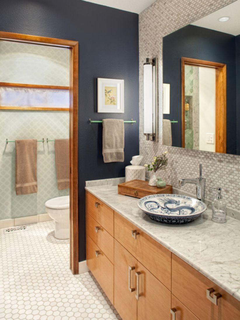 37 Stunning Wood Accents To Refresh Your Bathroom Matchness Com Blue Bathroom Simple Bathroom Remodel Brown Bathroom Decor