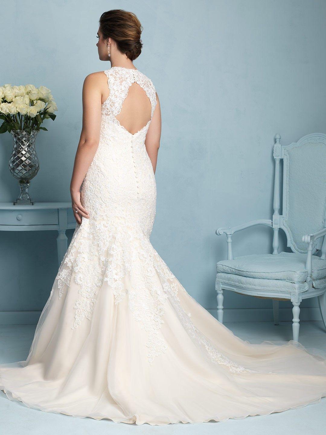 Mermaid V-neck Tulle+Lace Plus Size Wedding Dress with Keyhole Back ...