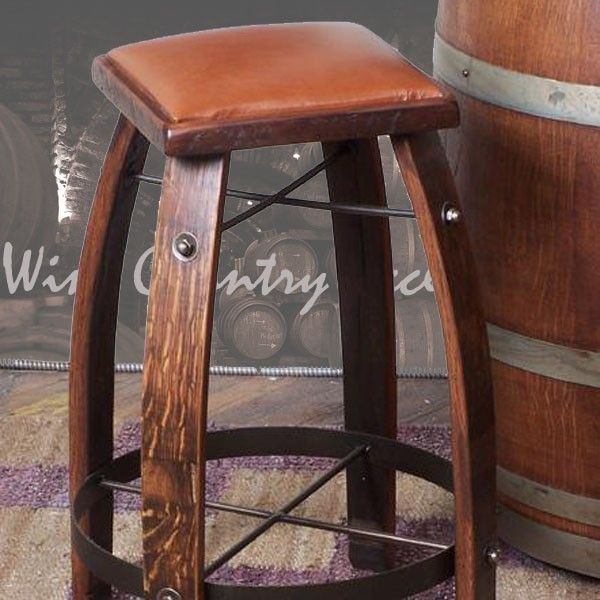 2 Day Designs Wine Barrel Bar Stools Leather Tops Wine Barrel Bar Wine Barrel Furniture Wine Barrel Bar Stools