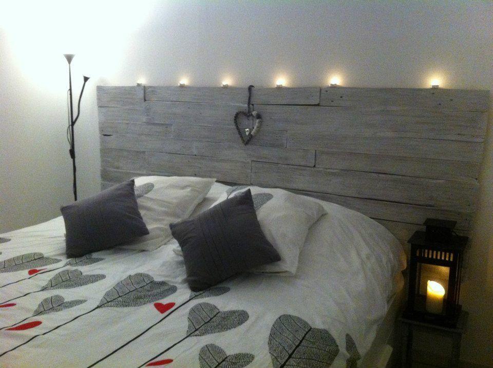T te de lit en bois de palette chambre pinterest lit - Chambre en palette ...
