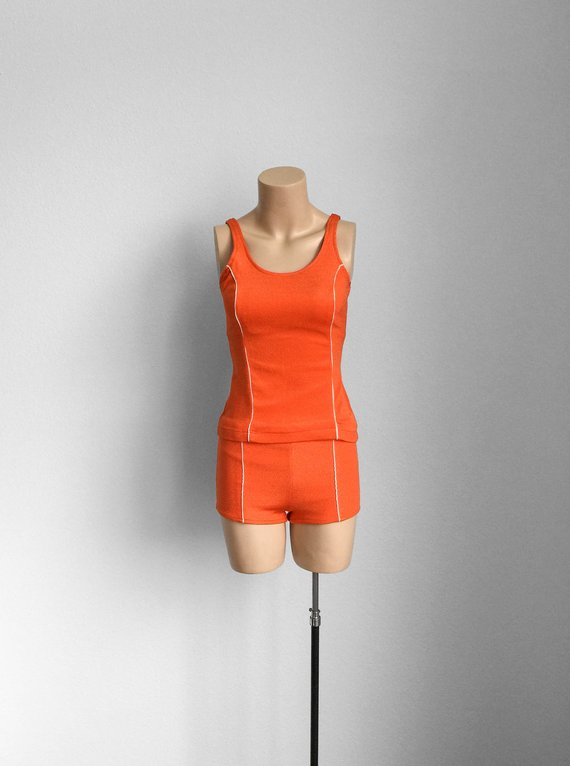 7259c738fb 70s Two Piece Orange Swimsuit • 1970s Tankini Bathing Suit • Vintage Bikini  Shorts and Top • Small •